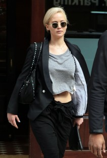 52005614 Jennifer Lawrence is spotted leaving her hotel in New York City on March 26, 2016. The actress was recently made into a meme after an awkward picture of her playing basketball surfaced on the internet. FameFlynet, Inc - Beverly Hills, CA, USA - +1 (310) 505-9876