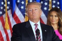 52085662 U.S. Republican Presidential candidate Donald Trump addresses supporters and the media following primary elections on June 7, 2016 in Briarcliff Manor, New York. Trump spoke to the media at Trump National Golf Club. FameFlynet, Inc - Beverly Hills, CA, USA - +1 (310) 505-9876 RESTRICTIONS APPLY: USA ONLY
