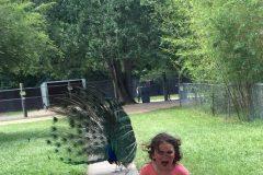 girl running from peacock