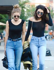 52100803 Model gal pals Gigi Hadid, Kendall Jenner and Hailey Baldwin are spotted leaving The Smile restaurant in New York City, New York on June 21, 2016. During the outing Kendall was wearing a sheer black shirt that showed off her nipple piercing. FameFlynet, Inc - Beverly Hills, CA, USA - +1 (310) 505-9876 RESTRICTIONS APPLY: USA ONLY