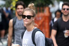 """52085911 Model Nina Agdal stops for an iced coffee while out and about in New York City, New York on June 8, 2016. Nina, who was at one time briefly linked to Leonardo DiCaprio, could be seen rocking a shirt that reads, """"EAT PRAY BARRYS."""" FameFlynet, Inc - Beverly Hills, CA, USA - +1 (310) 505-9876"""