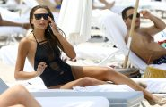 52104911 Model Sandra Kubicka and her boyfriend Cedric Gervais enjoy a day on the beach in Miami, Florida on June 26, 2016. The pair could be seen kissing in the water before returning to their chairs. FameFlynet, Inc - Beverly Hills, CA, USA - +1 (310) 505-9876