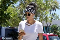 52079337 Model Shanina Shaik is seen shopping with fiance DJ Ruckus and their dog in Miami Beach, Florida on June 2, 2016. She was wearing a head wrap, a white tee shirt with shorts and gladiator sandals. **NO LATIN AMERICA/NO SPAIN/NO PORTUGAL** FameFlynet, Inc - Beverly Hills, CA, USA - +1 (310) 505-9876 RESTRICTIONS APPLY: SEE CAPTION FOR RESTRICTIONS
