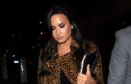 52211770 Singer Demi Lovato turned heads in a leather leopard print skirt and jacket as she while dining out at Catch restaurant in West Hollywood, California on October 22, 2016. FameFlynet, Inc - Beverly Hills, CA, USA - +1 (310) 505-9876