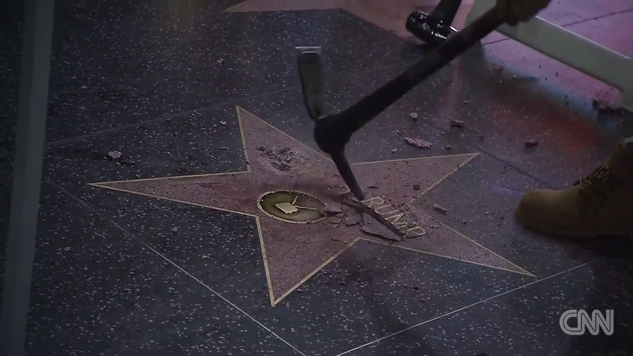 Man Smashes Trump's Star on the Walk of Fame, Trump ...