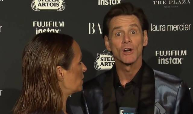 Jim Carrey's latest red carpet interview is very, very unusual