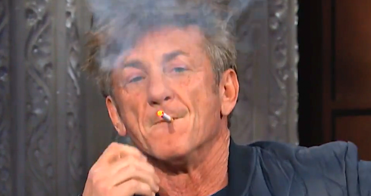 Sedated Sean Penn Chain Smokes in Bizarre Late Show Appearance